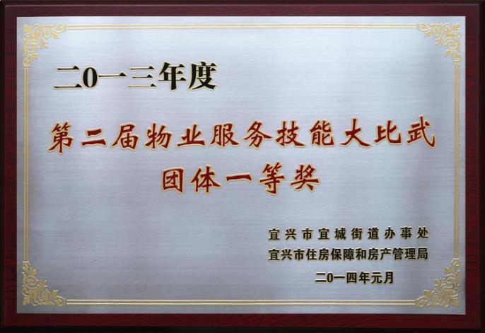 2013年度第二届物业服务技能比武团体一等奖