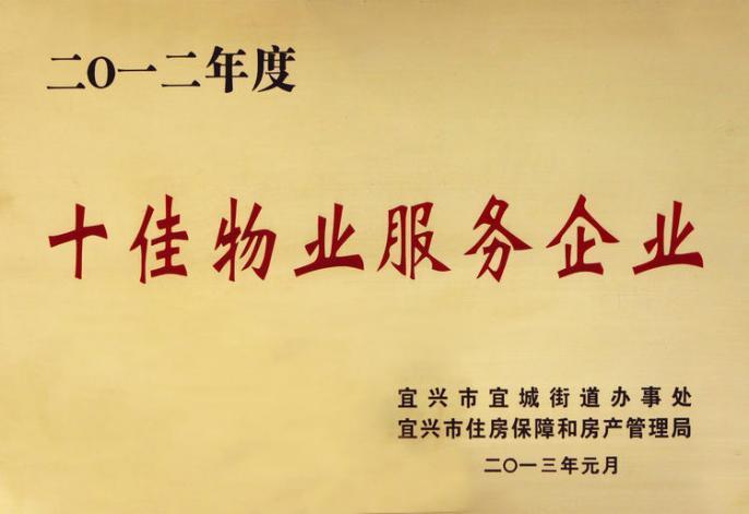 2012年度十佳物业服务企业